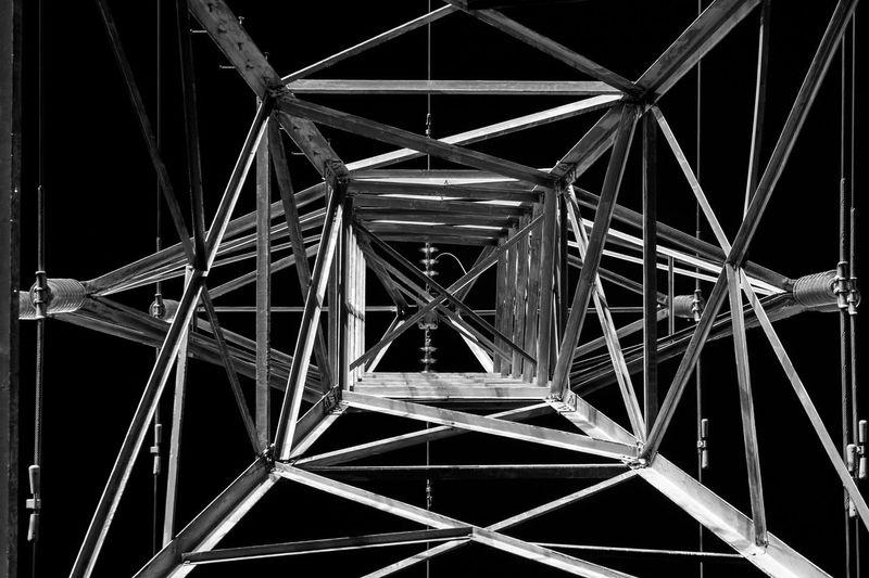 Close-up of illuminated pylon