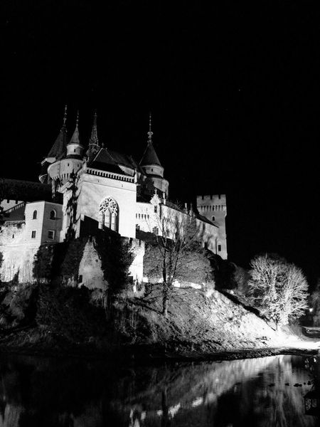 Black & White Bojnice Bojnice Slovakia Castle Architecture Black And White Blackandwhite Blackandwhite Photography Bojnicecastle Building Exterior Built Structure Clear Sky Illuminated Low Angle View Night No People Outdoors Sky Water