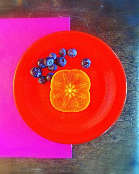 Sharon Blueberry Red Purple Plate Wood