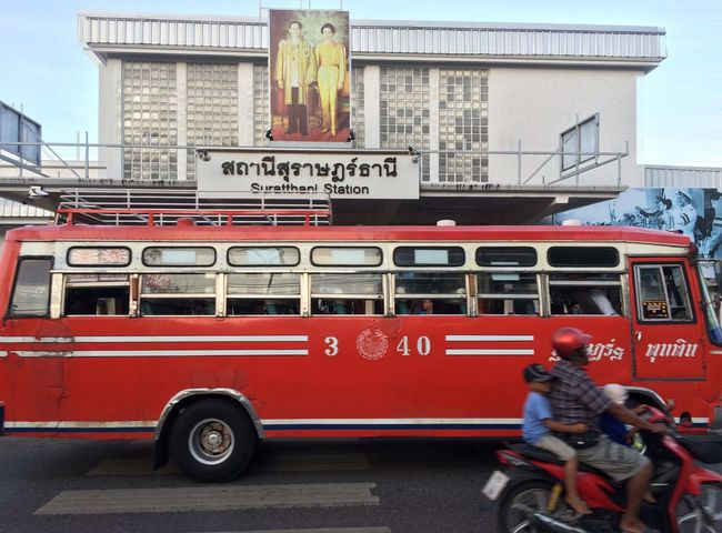 Thailand Suratthani Mode Of Transport Architecture Building Exterior Red Transportation Text Land Vehicle Day City Outdoors No People Fire Engine