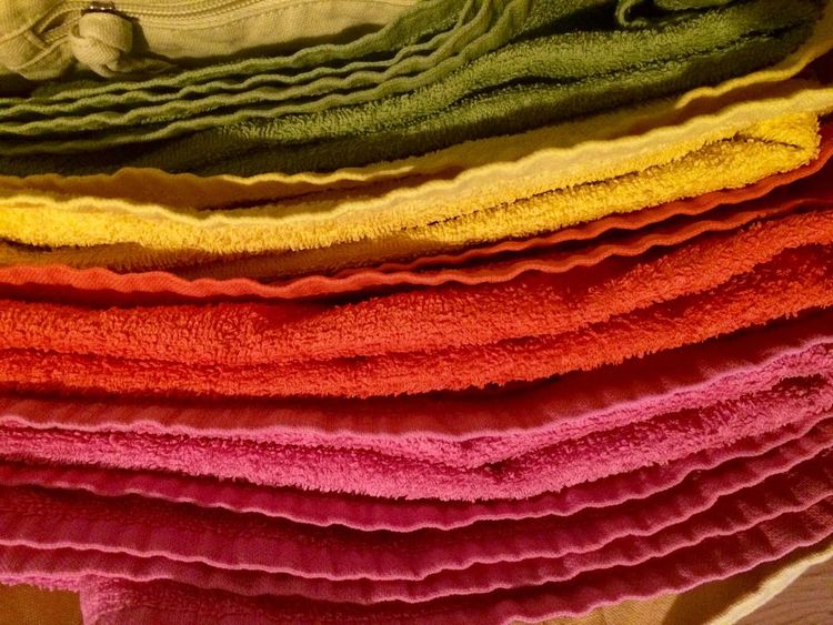 Multi Colored Textile Retail  Clothing Backgrounds Stack Green Color Full Frame No People Indoors  Close-up Towl