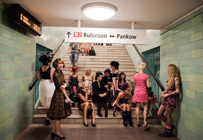 Berlin Bored Girl Casual Clothing City Life Fashionshow Germany Group Of Women Hanging Out Leisure Activity Lifestyles Models Redhead Subway Tattoos U2 Ubahn Underground Vintage Vintageclothing Women Youngwomen Battle Of The Cities
