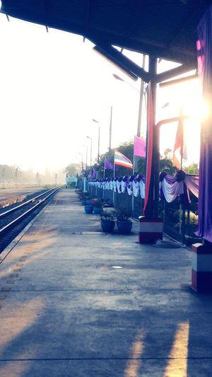 No People Outdoors Railway Platform Sunrise