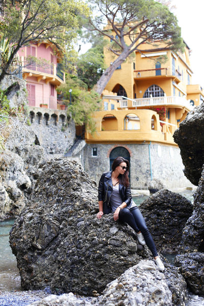 Portofino Travel Annamour Annamourtravel Architecture Black Hair Building Exterior Built Structure Day Full Length Italy Long Hair Nature One Person One Woman Only Outdoors Real People Rock - Object Rocks Sea Travel Destinations Young Adult Young Women