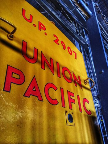 Union Pacific. Let's Go Together Train Train Station Railroad Station Transportation Yellow Text Close-up Lettering Logo Perspective Angle HDR No People Shipping  Walking Around Identity Exploration Friday Rail Transportation Union Pacific Railroad Vintage Vintage Style Words Communication