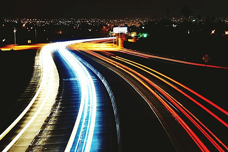 How Do We Build The World? Neon Color Carlights Freeway Drives Bright Light Hello World Taking Photos Bright Colors Fine Art Photography
