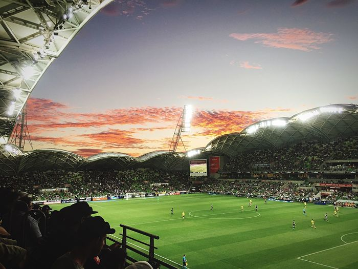 Melbourne Victory vs Central Coast Mariners. Hyundai A-League Game. Melbourne Victory won 4-1 Australia Melbourne Sunset Soccer Field Melbourne Victory AAMI Park Football Football Stadium