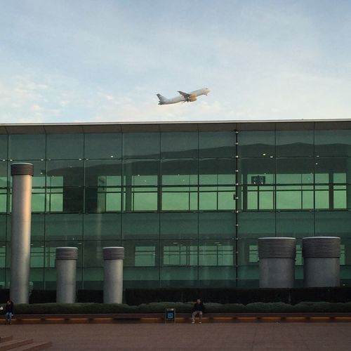 Abstract Airplane Airplane Wing Airport Airportphotography Animal Themes Animals In The Wild Architecture Barcelona Building Exterior Built Structure Flying Green Glass Minimal Modern Architecture No People One Animal Outdoors Sky Spread Wings Take Off TakeOff Tarragona Transportation Window Frame