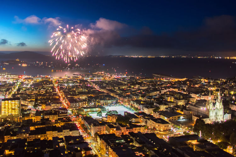 4th July California Fireworks San Francisco Architecture Building Building Exterior Celebration City City Life Cityscape Firework Firework - Man Made Object Firework Display Glowing Illuminated Independence Day Light Night Outdoors San Francisco Bay Sky