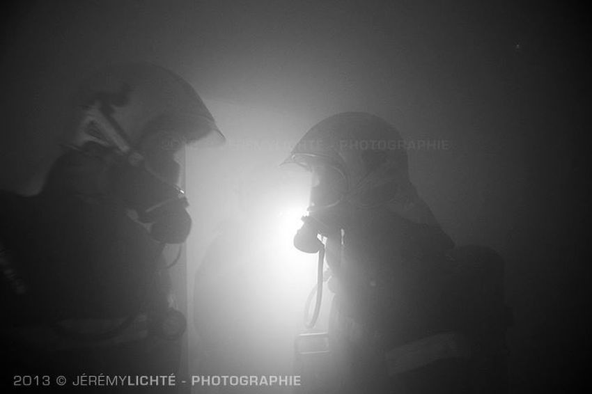 Communication... Reportage Firefighter France Sapeurspompiers Nikon Alsace Blackandwhite Light And Shadow Light Smoke