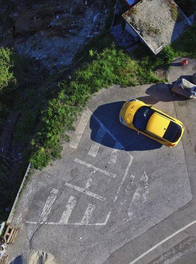 High angle view of yellow umbrella