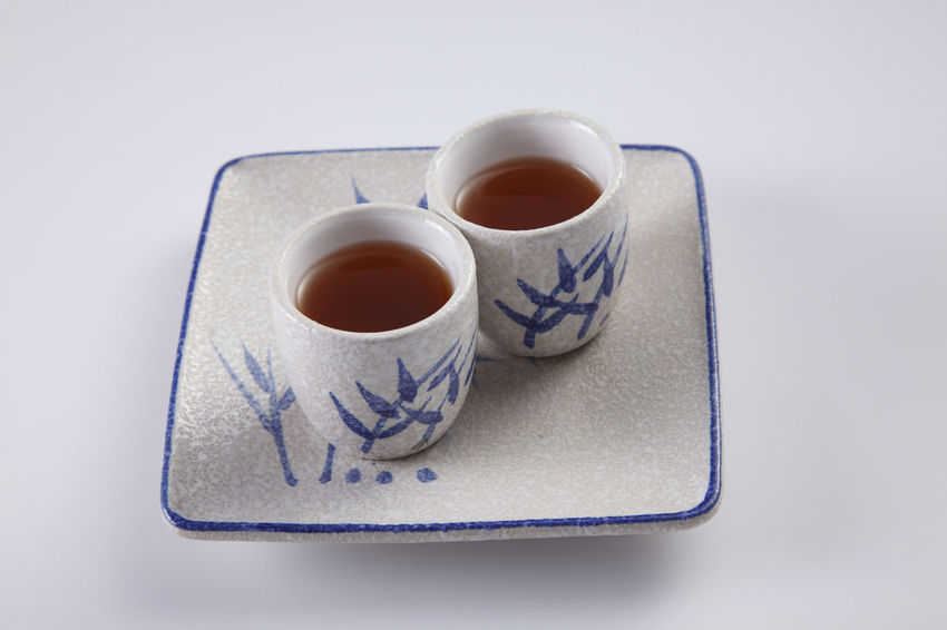 two cup of tea ready to serve Asian  Beverage Paint Served Service Tea Bamboo Close-up Day Japanese Drink No People Oriental Plate Ready To Serve Studio Shot Tea - Hot Drink Traditional White Background