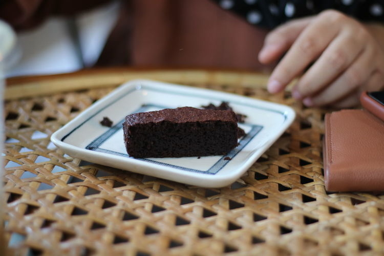 Close-up of chocolate cake on table