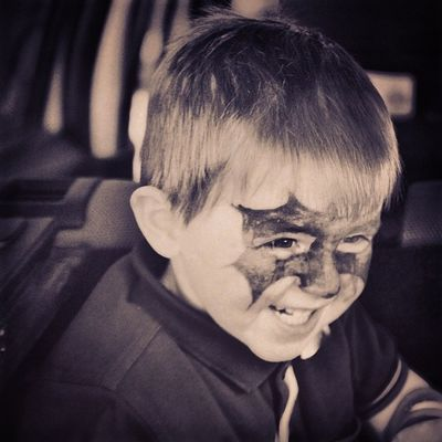 Alfie Ginger Batman Face Paint Whitleybay Bank Holiday Travels Trouble Maker Super HERO B &W Black And White Like GoodTimes