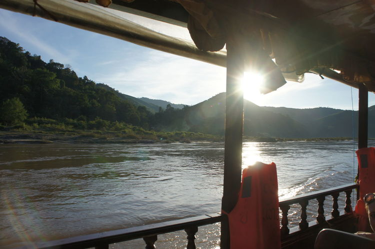 Beauty In Nature Boat Deck Day Lake Landscape Mekong Mekong River Mountain Nature Nautical Vessel No People Outdoors River Cruise River View Riverscape Riverside Sky Summer Sun Sunlight Sunset Tree Vacations Water