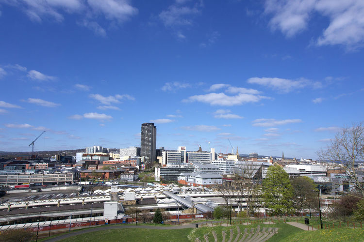 View across Sheffield City Centre from park Hill Sheffield Architecture Built Structure Building Exterior City Sky Cloud - Sky Building Cityscape Day Nature Residential District Plant Tree No People High Angle View Outdoors Blue Landscape Office Building Exterior Skyscraper