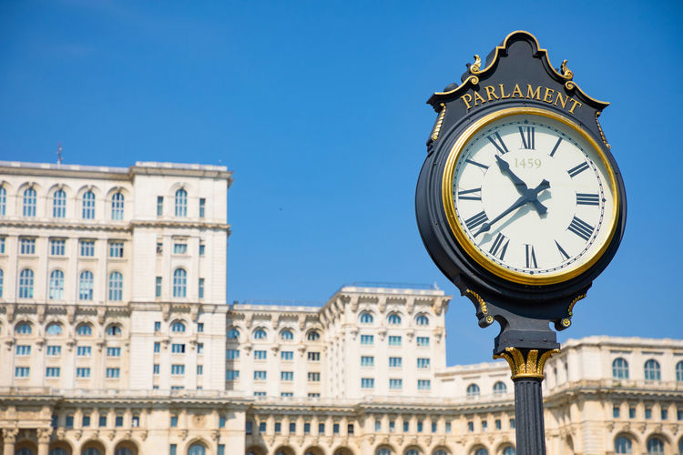 Architecture Bucharest City Romania Square Biggest Building Exterior Clock Landmark Parlament Watches