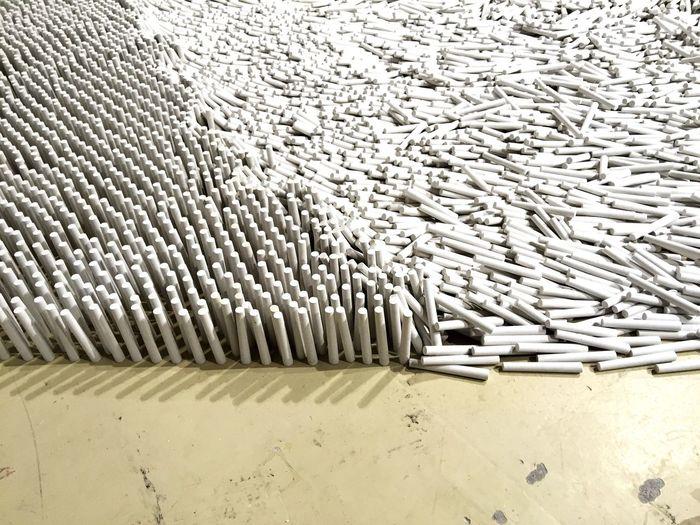 Shenzhen China Art Installation Chalk Shadow Pattern Contrast Shi Yong Qian Weikang