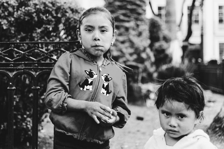 Reyna Guadalupe and her little sister. Blackandwhite Day Little Little Girl Outdoors Portrait Street Streetphotography