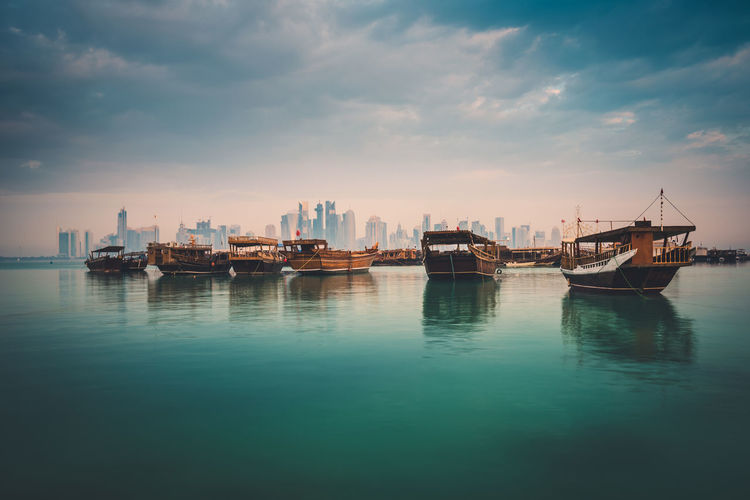 Morning view of doha corniche, qatar, middle east