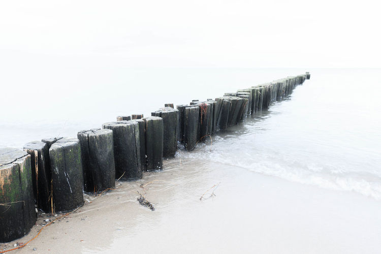 wooden posts on