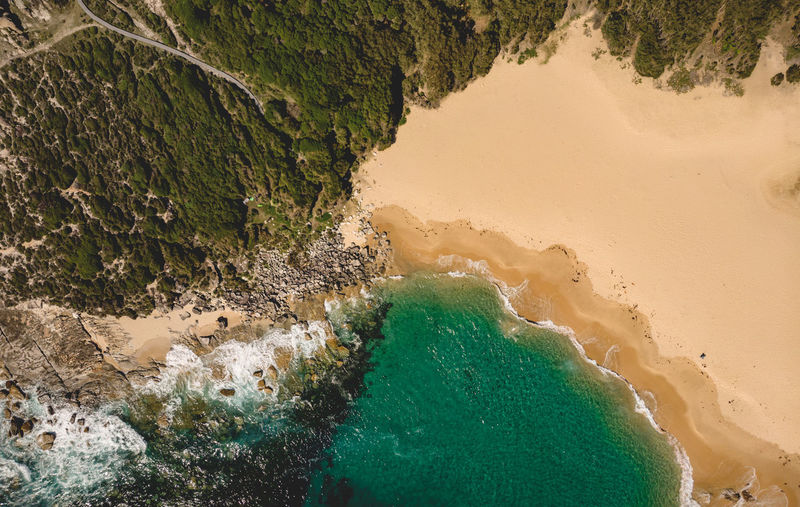 Little Marley Beach from above by drone with the Royal Coast Track continuing south. Water Sea High Angle View Beach Sand Outdoors Rock Day Nature Royal Coast Track Royal Coastal Walk Royal National Park Sydney Australia Marley Beach Little Marley Beach Hiking Hiking Adventures Waves Turquoise Water Drone  Drone Photography DJI Mavic Air Discover Places Secluded Beach