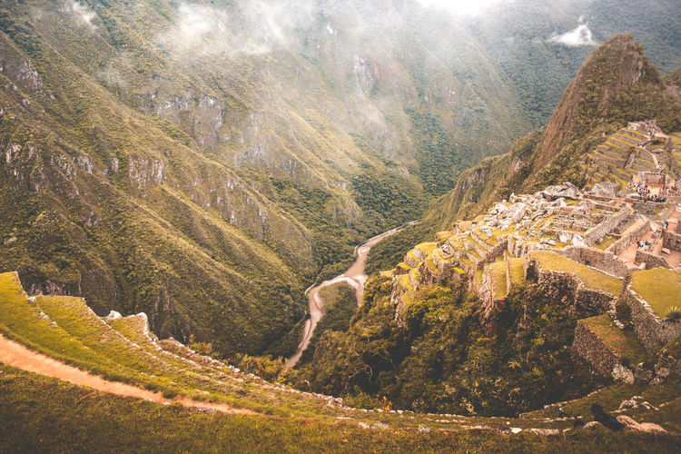 Machu Picchu, Cusco, Peru. April, 2018. Inca Machu Picchu Architecture Beauty In Nature Day Environment High Angle View Land Landscape Mountain Mountain Range Nature No People Non-urban Scene Outdoors Plant Road Scenics - Nature South America Tranquil Scene Tranquility Tree Urubamba Valley