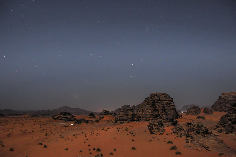 Scenic View Of Rocks In Desert Against Starry Sky