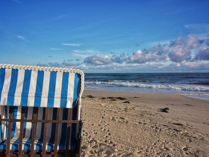 Beach Sea Sand Water Sky Blue Horizon Over Water Day Outdoors No People Nature Wave Beach Chair The Week On EyeEmCloud - Sky Beauty In Nature Scenics Travel Destinations Travel Tourism Ostsee Usedom Zempin Wave Nature