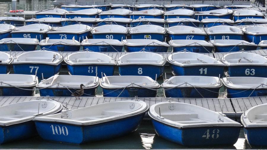 Full Frame Shot Of Pedal Boats Moored At Harbor