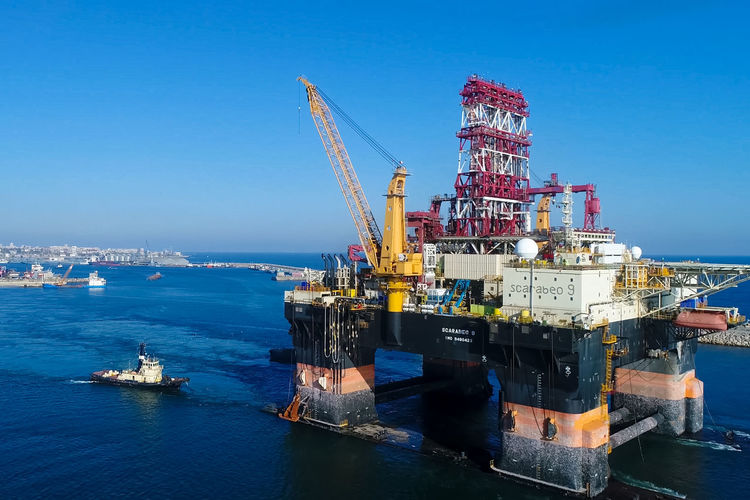 Water Industry Sea Nautical Vessel Sky Oil Industry Transportation Crane - Construction Machinery Machinery Offshore Platform Architecture Fuel And Power Generation Mode Of Transportation No People Nature Drilling Rig Ship Outdoors Business Industrial Equipment