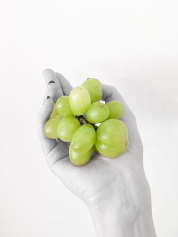 Again Grape Grapes Fresh Green Freshness Fruits Hand White Background IPhoneography Iphone6s Healthy Eating Healthy Blackandwhite Black And White EyeEm Best Edits Nature's Diversities