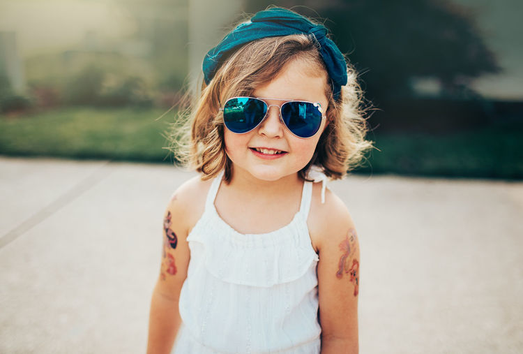 Aviator Glasses Childhood Close-up Day Focus On Foreground Front View Girls Headband Looking At Camera One Person Outdoors Portrait Real People Summer Sunglasses Sunlight