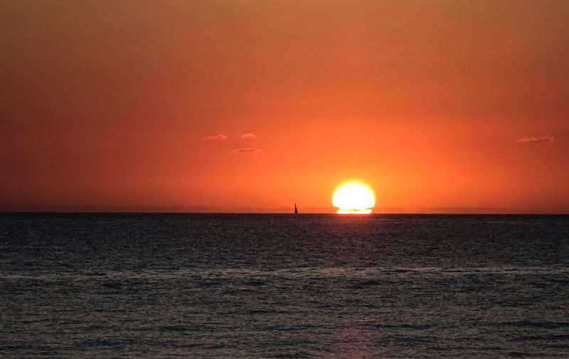 Gradient Mexico Orange Orange Sky Red Beauty Beauty In Nature Blue Clouds Distant Dusk Pacific Ocean Red Sky Sailboat Sea Sun Sunset Waves