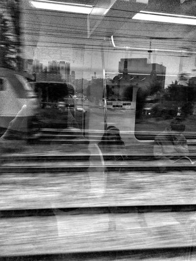 Monochrome Train Reflection Moving