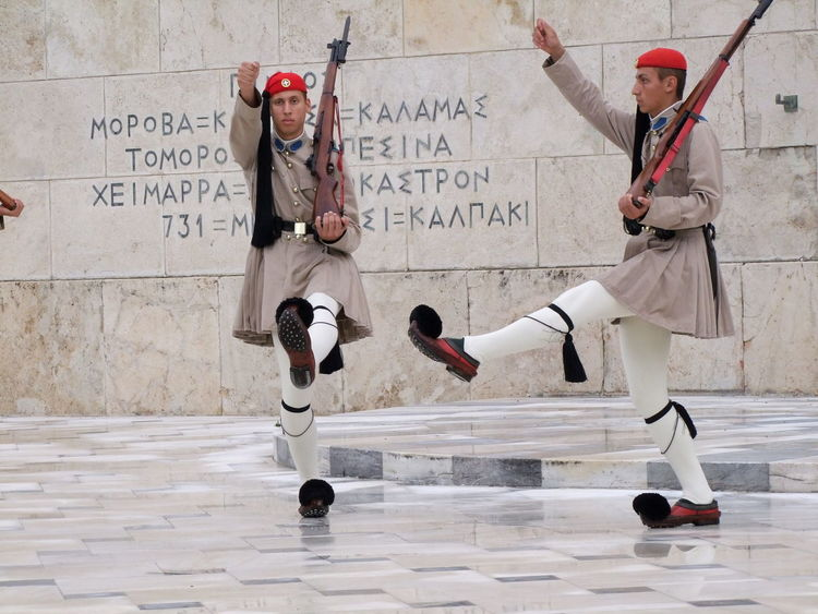 Changing of the Guard at Tomb of the Unknown Soldier Athens Composition Culture Full Frame Full Length Greece Guards Marching No People Outdoor Photography Rifles Soldiers Tomb Tomb Of The Unknown Soldier Tourism Tourist Attraction  Traditional Travel Uniforms