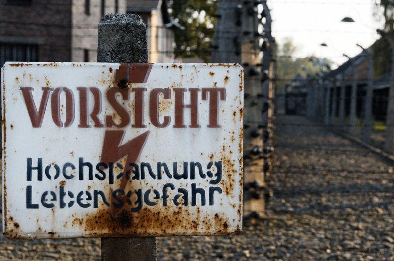 Auschwitz  Brick Wall Campo De Concentracion Concentration Camp Focus On Foreground Information Poland Polonia  Selective Focus