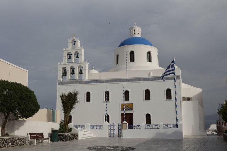 Church by greek flag