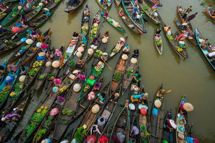 Floating Market Lok Baintan - Kalimantan Selatan #floating_market #market High Angle View Group Of People Crowd Large Group Of People Day Real People Water Men Transportation Women City River Architecture Outdoors Adult Market Street Multi Colored Festival #culture