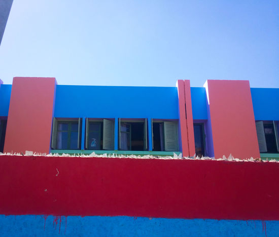 Because Colors🎨 📸 Caught My Eye Building Exterior Architecture High School Window Windows Outdoors Built Structure Clear Sky Blue Sky Urban Exploration ArchiTexture Lego Building Multi Colored Shades Of Color Green Red MnM MnMl Mnmlsm Minimalism Minimal Minimalistic