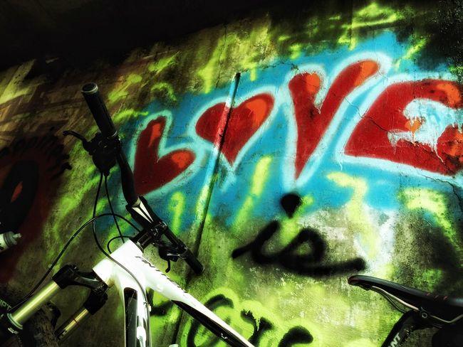 Love is… urban mountain biking with my Bebe. Love Mountain Biking Mountainbike Graffiti