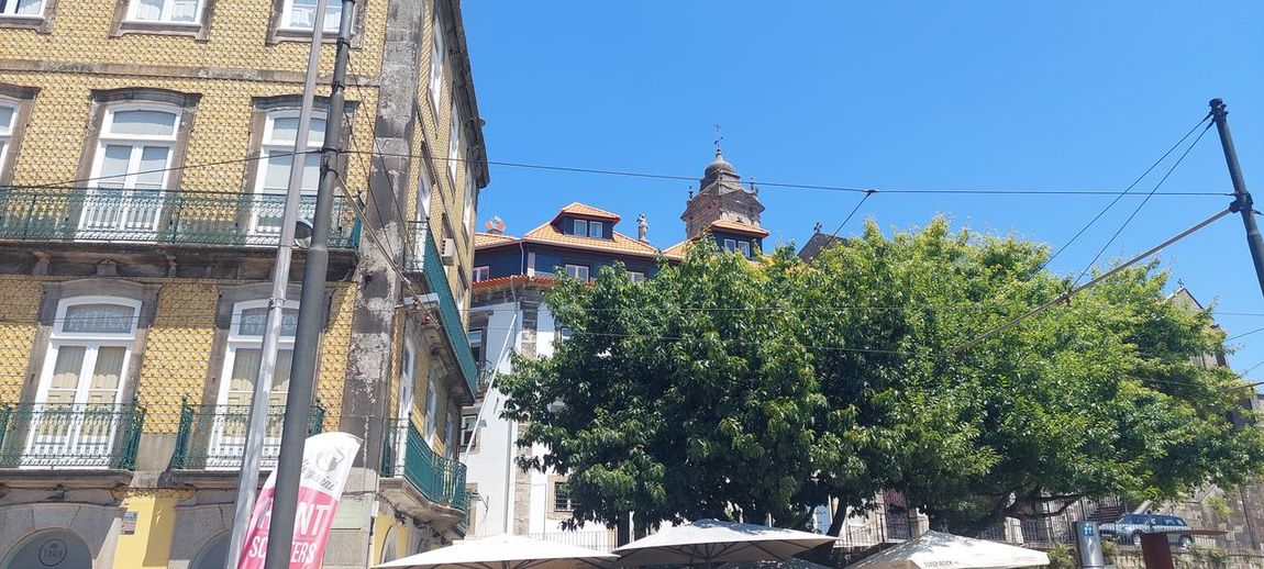 Low angle view of trees and buildings against clear blue sky