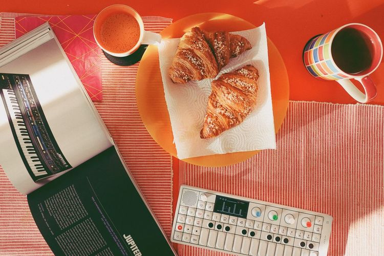 Sunday breakfast, croissants and tunes! Damn Croissant Croissant Teenage Engineering Cappuccino Roland Synthesizer Op-1 Breakfast EyeEm Selects Table Indoors  Food And Drink Food High Angle View Healthy Eating Breakfast Directly Above Freshness Food Stories