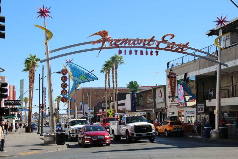 Architecture Beautiful Day Building Exterior Built Structure Car City Clear Sky Clear Sky Communication Day Fremont Street Experience Land Vehicle Las Vegas No People Old Vegas Outdoors Sky Street Text Neighborhood Map