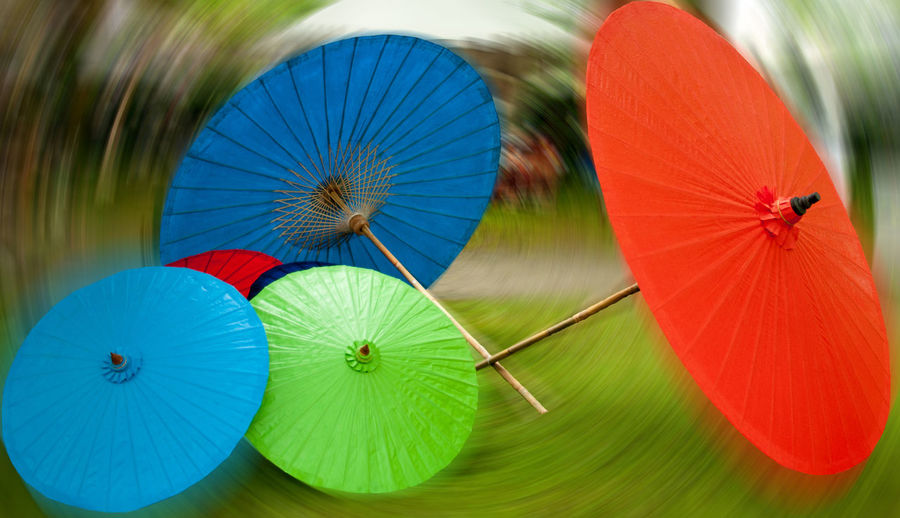 Close-up of colorful drink umbrellas