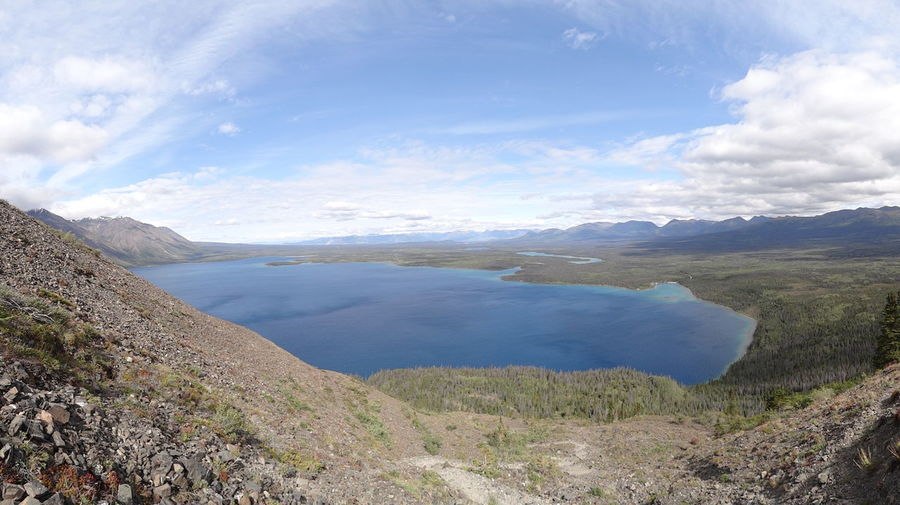 Beauty In Nature Canada Cloud - Sky Day High Angle View Kathleen Lake King's Throne Kluane National Park & Reserve Lake Landscape Mountain Mountain Range Nature No People Outdoors Scenics Sky Tranquil Scene Tranquility Water Yukon