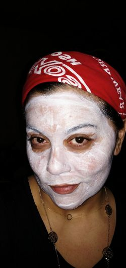 Self Portrait Contrast Pain And Beauty Facial Mask Refection Facial Experiments Female Perfection Feminine  Beauty Bright Colours