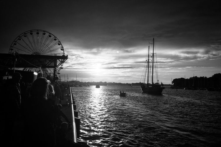 Iconic view - sunset while HanseSail 2016 Rostock HanseSail Hansesail 2016 Black And White Photography Black And White Snapseed Sunset Silhouettes