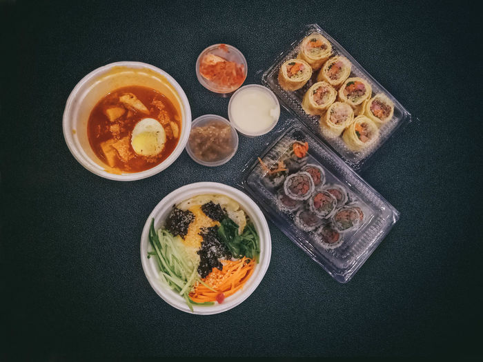 Today korean food... Food Food And Drink Korean Food Delivery Delivery Service Foodphotography Foodporn Vscofood EyeEm Best Shots EyeEm Best Edits Eyeemfood Foodie Ready-to-eat Foodstagram Freshness Kimpab Dolsot Bibimpap Picoftheday