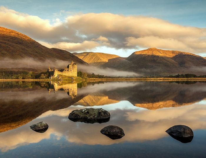 Kilchurn Castle Scotland Reflection Reflection Lake Nikon Sunrise Landscape Sky Castle Kilchurn Castle, Loch Awe Travel Destinations Scenics Sunlight Reflection Tranquility Lake Water Travel Idyllic Sunset Cloud - Sky No People Symmetry Tourism Reflection Lake Travel Destinations